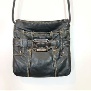TIGNANELLO BLACK LEATHER CROSSBODY WITH CARD SLOTS